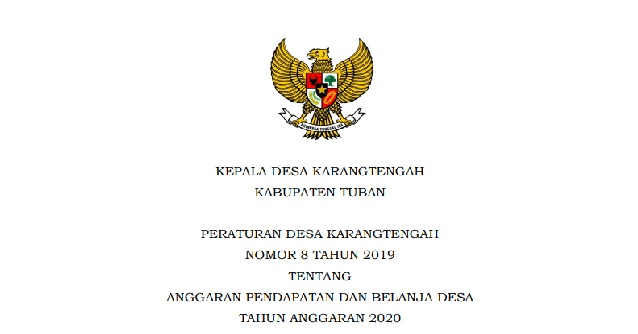 Kumpulan Peraturan Desa (Perdes) Karangtengah Tahun 2019